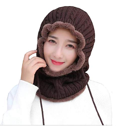 Alexvyan Combined Dark Brown Beanie Warm Cap and Scarf Soft Snow and Air Proof Fleece Knitted Cap (Inside Fur) Woolen Beanie Winter Cap with Scarf for Girl Women