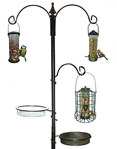 New Traditional Bird Table Feeding Station Hanging Wooden Metal Garden Wild