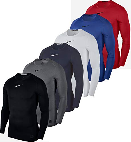 Nike Herren Top Comp Longsleeve, Carbon Heather/Black, S