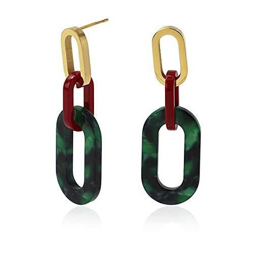 Anartxy Tortuga Pendientes de Eslabones con Textura Tipo Carey de Color Verde y Rojo Para Mujer de Resina y Acero, Mejor Regalo