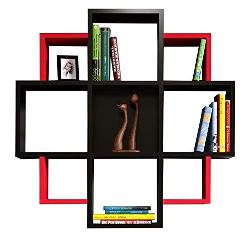 HOMIDEA Bloom Mensola da Muro - Mensola Parete - Mensola Libreria - Scaffale pensile per Studio/Soggiorno in Design Moderno (Nero/Rosso)