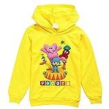 Pocoyo Sudaderas con capucha para niños y niñas, unisex, de manga larga, camiseta Pocoyo, amarillo, 9-10 Años