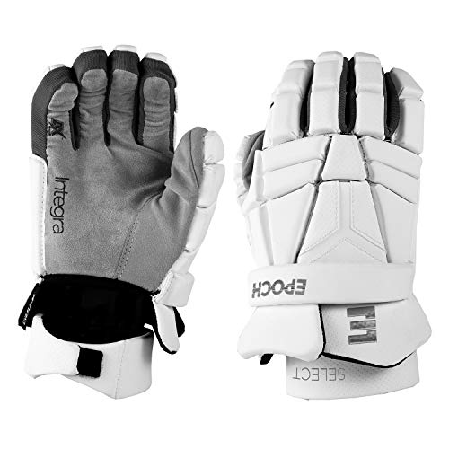 """Epoch Integra Select Lacrosse Gloves with Dual-Density Foam and Adjustable Wrist, 13"""", Large, White"""