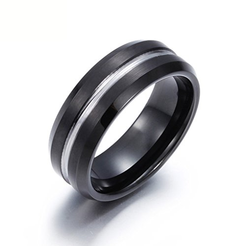 PW 100%純タングステン 飽きないシンプルデザイン ブラック黒xシルバー銀 指輪 【ラッピング対応】