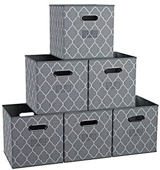 Ornavo Home Foldable Storage Bins Basket Cube Organizer with Dual Handles and Window Pocket - 6 Pack - 12  L x 12  W x 12  H - Lattice Gray