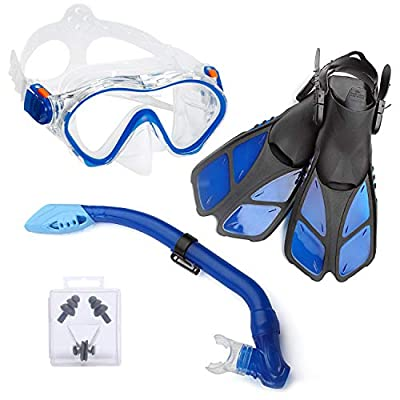 ELEMETEX Kids Snorkel Set Gear   Includes Scuba Mask, Diving Trek Fins and Easy-Breath Dry Top Valve   Improved Tempered Glass on Snorkeling Mask w/Free Ear Plugs, Nose Clip, and Carrying Bag