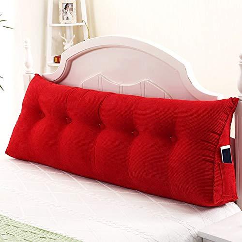 ZHAYEDE Große Bequeme dreieckige Rückenlehne Bett Kissen Kopfteil,Rückenkissen keilkissen Bett zum Lesen Rest im Bett Rest Atmungsaktive Lendenkissen Bücherkissen Taille mit waschbarem Red