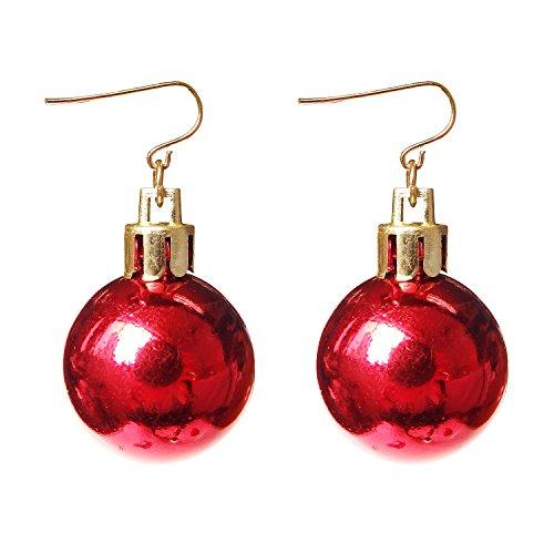Gifts Ornament Dangle Earrings For Women Girls Christmas Red Ball Alloy RareLove