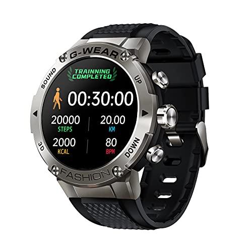 QFSLR Smartwatch, Reloj Inteligente Hombre, Relojes Deportivos con Llamada Bluetooth Monitor De Frecuencia Cardíaca Monitor De Presión Arterial Monitoreo De Oxígeno En Sangre,Plata