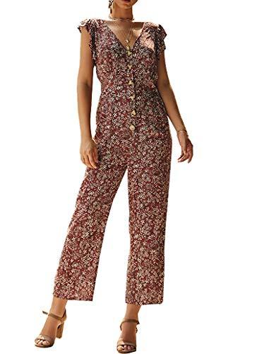 Damen Jumpsuit V Ausschnitt Overall Sommer Floral Kurzarm Romper Elastische Taille Lang Hosenanzug Rot S