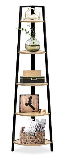 SpringSun 5-Tier Corner Ladder Wood Shelf Display Rack Multipurpose Bookshelf and Plant Stand for Living Room and Office