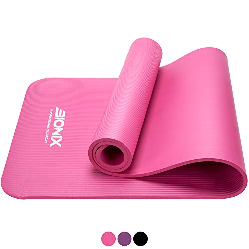 Bionix Yoga Mat Pink | Thick Exercise Foam NBR Roll with Non...