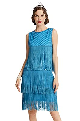 BABEYOND 1920s Flapper Dress Long Fringe Gatsby Dress Roaring 20s Sequins Beaded Dress Vintage Art Deco Dress