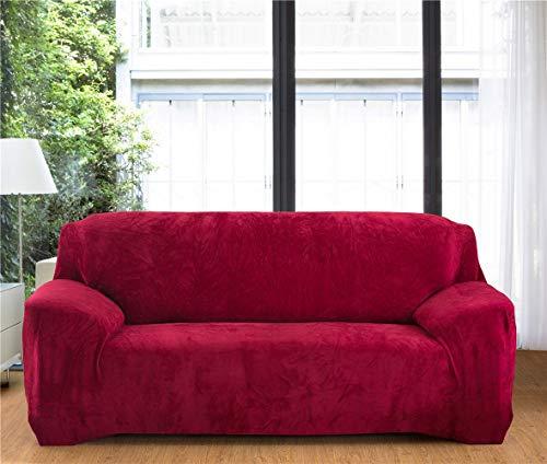 Interestmaker, copridivano elasticizzato in velluto per divano da 1, 2, 3, 4 posti, rosso vivo, 3 Seater:195-230cm