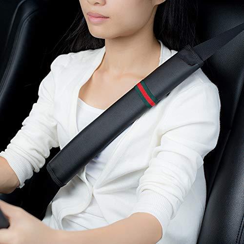 Lmybest Hombreras para el cinturón de Seguridad del automóvil, 2 Piezas de 13 Pulgadas, hombreras de Microfibra de Cuero, Almohadillas Confort, Clips de Seguridad Protectores, (Negro)