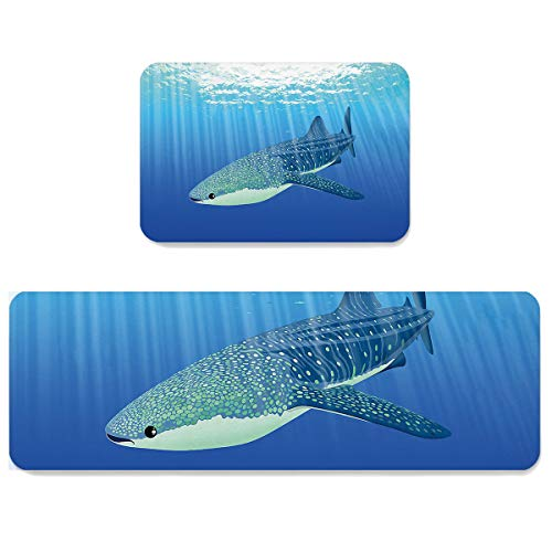 Futuregrace Doormats with Non-Slip Rubber Backing Absorbent Oil Proof Kitchen Rug, The Fish Swimming in The Sea 2pcs Kitchen Mats Sets for Entrance Home Decoration, 19.7x31.5in+19.7x63in