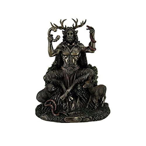 Cernunnos Celtic Horned Statue - Resin God of Animals and The -Underworld Sculptures, Figurine Deity of Animals Fertility Life Home Decoration (Black)