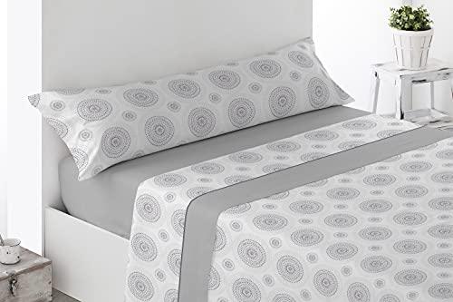 Energy Colors Textil - Hogar - Serie Ottawa - Juego Sábanas 3 Piezas Verano Tacto Super Soft (Gris Nebla, 135_x_200_cm)