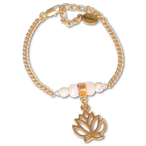 Anisch de la Cara Mujeres Pulsera Shiny Gold Lotus -...