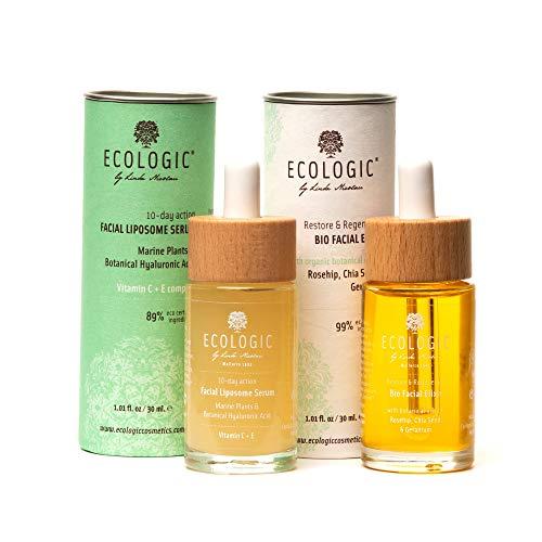 Set Facial Día y Noche con Serum y Elixir - 2 Unidades. Ecologic Cosmetics by Linda Nicolau. Bio cosmética sostenible, vegana, orgánica, ecológica, eco friendly y climate friendly