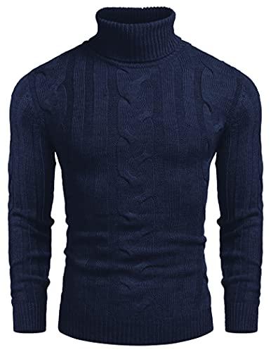COOFANDY Jersey de punto con cuello de tortuga, ajustado, informal, con cable, para hombre, azul marino, XXXL