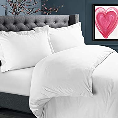 """Nestl Bedding Duvet Cover Set – Ultra Soft 100% Microfiber Hotel Collection 3 Piece Set with 2 Pillow Shams - Insert Comforter Protector, Duvet Covers with Button Closure – Queen 90""""x90"""", White"""