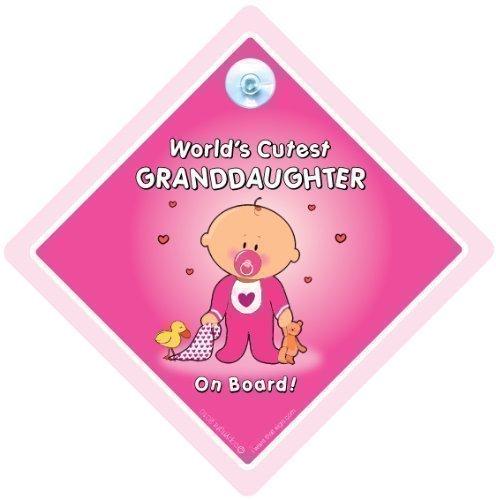 World's Süßeste Enkelin an Bord Autoschild, Auto Schild mit Saugnapf Cupcar Zeichen, Baby On Board Zeichen, Neuheit Auto Schild, Baby A, Enkelkind an Bord Autoschild, Baby A, Enkelin Auto Schild