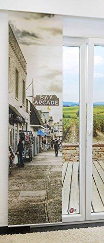 LYSEL Flächengardine Bay Arcade lichtdurchlässig mit Motiv in den Maßen 245 cm x 60 cm grau/Sepia