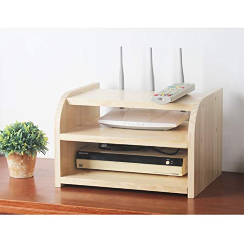 Houten Set-top Box Storage Shelf Router Storage Rack TV meubel TV Cabinet TV Console TV Shelf 2-tier 1-tier TV Shelf for Cable Box DVD-speler Opslag Shelf (Color : A-without Varnish, Size : 2-tier)