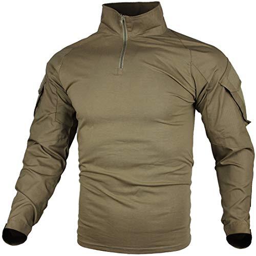 zuoxiangru Hommes Tactique Combat T-Shirt, Ripstop Respirant Multicam Chemise pour la Chasse Militaire Airsoft - Khaki - XXL (Taille Fabriquant : Tag 4XL)