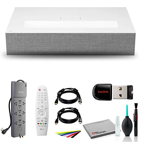LG HU85LA Ultra Short Throw 4K UHD Laser Smart Home Theater Cinebeam Projector with HDMI Cable, Wire Straps, Surge Protector, Cleaning Set and More
