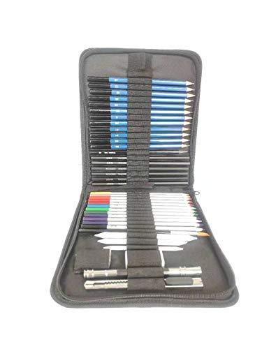 LAIDEPA Matite Colorate Portatili, 41 Matite Colorate da Disegno Matite da Disegno E Matite A Carboncino di Grafite Set di Materiali Artistici, Set Ideale per Principianti Accessori da Disegno,A