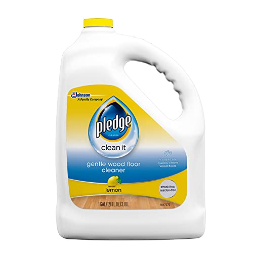Pledge Wood Floor Cleaner Liquid, Shines Hardwood, Removes Dirt, Safe and Gentle, Lemon, 1 Gallon