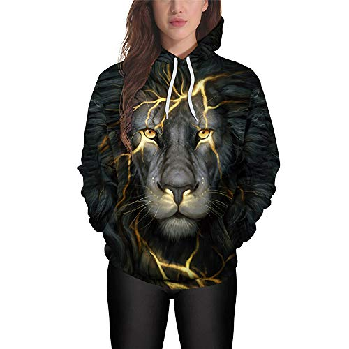 PRJN Men's Lion 3D Digital Printed Youth Long Sleeve Loose Large Size Hooded Hoodie 3D Digital Printing Hooded Casual Large Size Couple Sweater Fashion Autumn and Winter Long Sleeve Loose