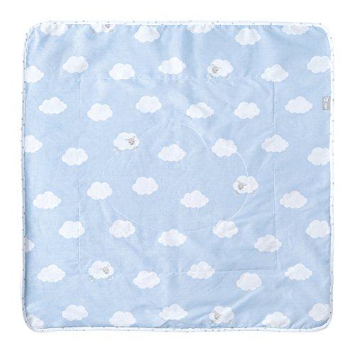 roba Babydecke 'Kleine Wolke blau', Decke zum Kuscheln, Krabbeln & Spielen, 2 seitig, 2 Funktionen: 1x super weich, warm & flauschig, 1 x 100% Baumwolle
