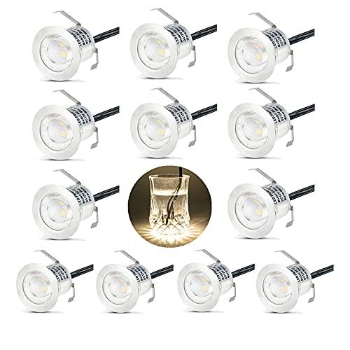 12X Spots LED Encastrable Extérieur, Etanche IP67, Spots à Encastrer pour Terrasse Bois Plafond, 0,6W DC12V lumière Blanc Chaud, Kit Mini Lampe pour Chemin
