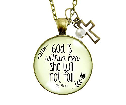 Gutsy Goodness Faith Necklace God is Within Her Psalm Quote Saying Womens Reminder