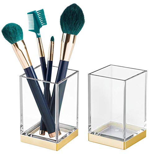 mDesign Modern Square Tumbler Cup for Bathroom Vanity Countertops - for Mouthwash/Mouth Rinse, Storing and Organizing Makeup Brushes, Eye Liners, Accessories - Slim Design