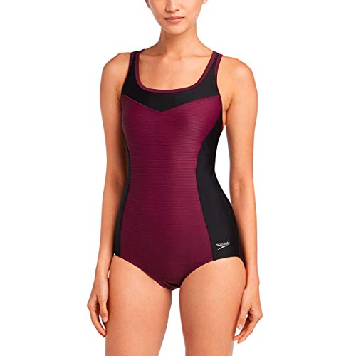 Speedo Womens One Piece Swimsuit,Keyhole Racerback, Moderate Cut (Potent Purple, Large)