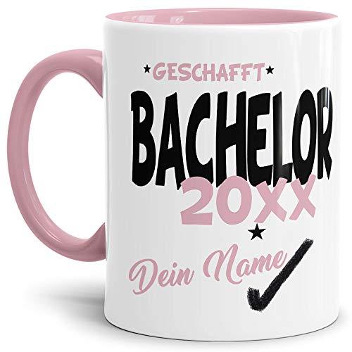 Tassendruck Bachelor-Tasse Geschafft Bachelor 20XX - Selbst gestalten mit Jahr und Name zum bestandenen Bachelor/Abschluss/Lernen/Prüfung/personalisierte Geschenk-Idee/Innen & Henkel Rosa