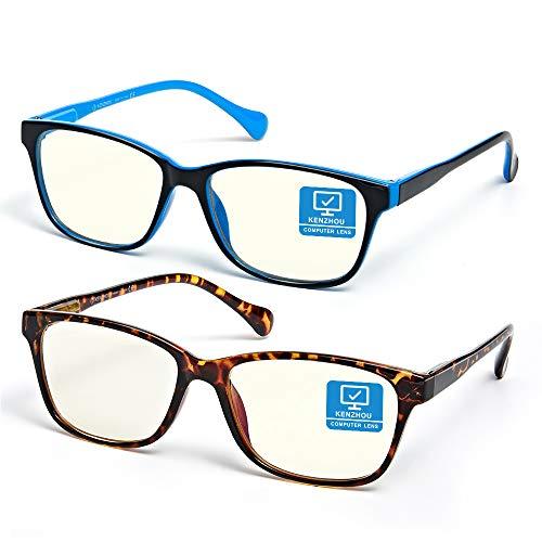 Blue Light Blocking Computer Glasses 2 Pack Anti Eyestrain Unisex(Men/Women) Eyeglasses with Spring Hinges UV Protection Little yellow lens (Twilight and Bule)