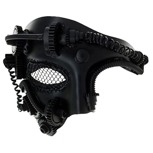 Ubauta Máscara veneciana de malla de Cyborg de metal Steampunk, máscara de mascarada negra para fiesta de disfraces de Halloween / Phantom Of The Opera / Mardi Gras Ball