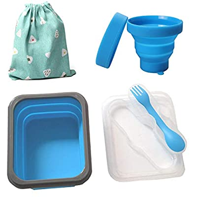 nononfish Camping Mess Kit for Scouts with Mesh Bag Camping Utensil Set 4 in 1-Reusable Cups Collapsible Bowl Sporks and Flamingo Lunch Bag