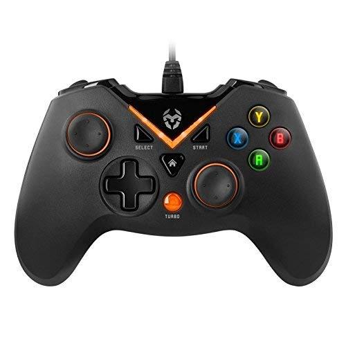 KROM KEY - Gamepad alámbrico, modos de juego X-input y Direct - input, joystick y gatillos analogicos, funcion turbo de disparo rapido, compatible con PC, Play station 3 y android 4,2, color negro