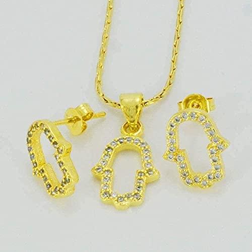 ZGYFJCH Co.,ltd Collares Collar de Moda Zirconia Conjuntos cúbicos Mano Collar/Pendientes para niños Color Dorado CZ Hamesh Joyería de Mano Mano Fátima Árabe Bebé