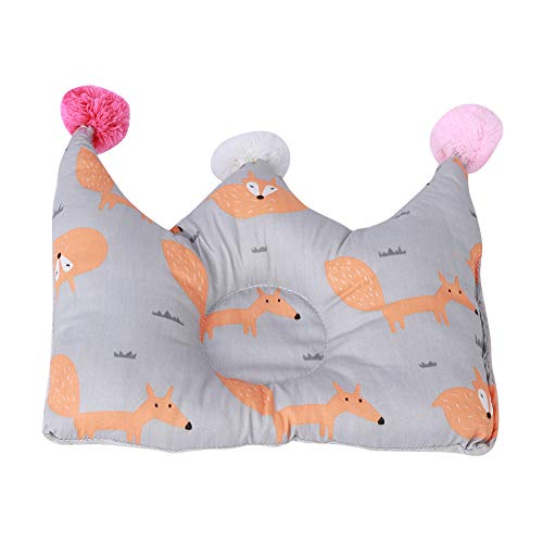 AMONIDA Almohada para bebé de Color Brillante, Forma de Corona, algodón Transpirable, Seguro, hipoalergénico, Almohada antivuelco, cunas para recién Nacidos(Red Fox)