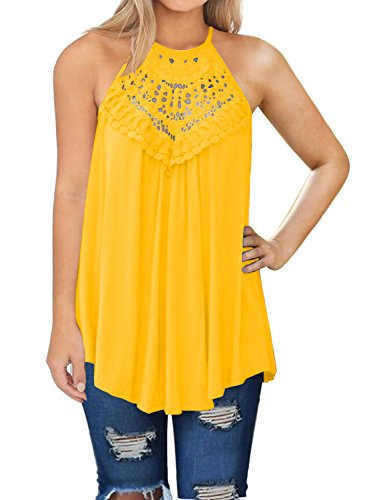 MIHOLL Womens Summer Casual Sleeveless Tops Lace Flowy Loose Shirts Tank Tops (Yellow, XX-Large)