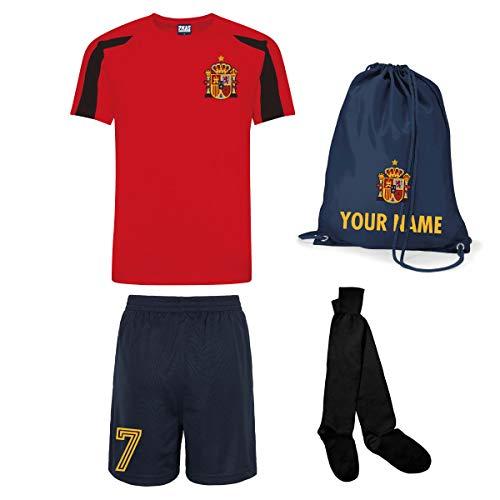 Print Me A Shirt Kit del Equipo de España Personalizable con Camiseta de Futbol, Pantalones Corto, Calcetines e Bolsa.