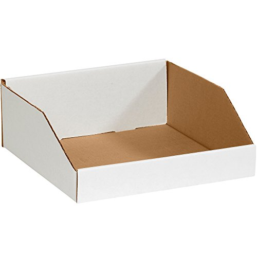 Aviditi Corrugated Cardboard Storage Bins, 12'x 12'x 4 1/2', White, Pack of 50, for Warehouse, Garage and Home Organization