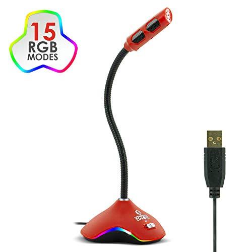 EMPIRE GAMING - Micrófono USB para Gamer para PC, Mac, Consolas - Ideal para Youtube Podcasting, Twitch Streaming, Chat - 15 Modos de retroiluminación LED RGB - USB con Cable